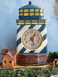 "6 ""Modern Style Mediterrâneo Oriental Tipo Farol Azul Com Branco Polyresin Alarme Relógio de mesa"