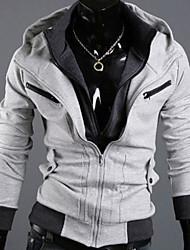 Shangdu Men's Contrast Color Long Sleeve Hoodie Cardigan(Light Gray)