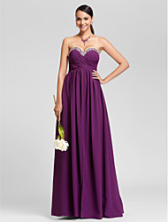 Lanting Bride Floor-length Chiffon Bridesmaid Dress Sheath / Column Strapless / Sweetheart Plus Size / Petite withBeading / Draping /