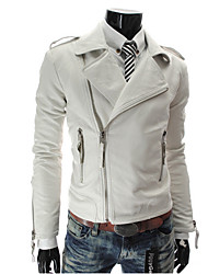 MELD Men's White More Zipper Motorcycle Style Leather Coat