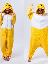 Kigurumi Pyjamas Ente Gymnastikanzug/Einteiler Fest/Feiertage Tiernachtwäsche Halloween Weiß / Gelb Patchwork Polar-Fleece Kigurumi Für