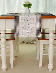 Chemin de table, mélange, modèle animal de coton / lin