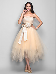 Cocktail Party / Homecoming / Holiday Dress - 1950s Plus Size / Petite A-line Strapless Tea-length Tulle with Draping / Sash / Ribbon