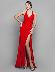 Sheath / Column V-neck Court Train Georgette Evening Dress with Side Draping Split Front Sequins by TS Couture®