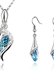 Women's Jewelry Set Drop Earrings Pendant Necklaces Earrings Crystal Rhinestones Fashion Elegant Costume Jewelry Crystal Cubic Zirconia