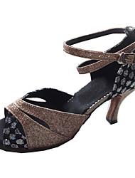 Customizable Women's Dance Shoes Latin/Ballroom Sparkling Glitter Customized Heel Gold