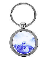 Personalized Round Blue-and-white Porcelain Style Keychain - The Great Wall