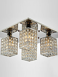 Cristal encastré, 4 Light, contemporain de fer Plaquage