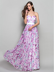 Formal Evening/Prom/Military Ball Dress - Print Plus Sizes A-line/Princess Strapless/Sweetheart Floor-length Chiffon