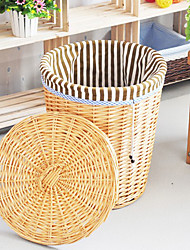 Traditional Brown Stripe Cloth Liner Bamboo Storage Bin For Cloth