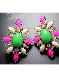 MARRY ME Women's Fluorescent Insect Series Color Gem Diamond Earrings Earrings(Green,Fuchsia)