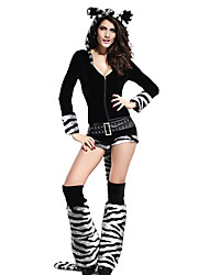 Halloween Costume deluxe Tiger Romper White & Black Stripes da Mulher