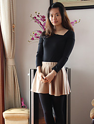 ZuoFei Sexy Irregular Collar Long Sleeve Bottoming Dress(Black)
