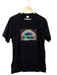 New Music Activated LED T-shirt de manga curta do arco-íris luminoso Luz