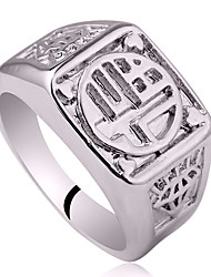 """Men 925 Sterling Silver Ring With Chinese Character """"Happiness"""""""