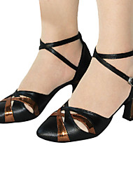 Women's PU Upper Cut Out Ankle Strap Chuncky Heel Modern Dance Shoes