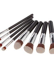 8PCS Makeup Cosmetic Brushes Set Professional Silvery Tube Powder Brush Blush Eyeshadow Brush Kit