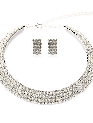 Gorgeous Alloy Silver Plated With Clear Rhinestone Wedding Bridal Women Jewelry Set(Including Necklace,Earrings)