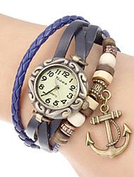 Women's Anchor Pendant Leather Band Quartz Analog Bracelet Watch (Assorted Colors) Cool Watches Unique Watches