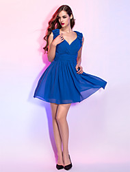 Cocktail Party / Homecoming / Holiday Dress - Royal Blue Plus Sizes / Petite A-line V-neck Short/Mini Chiffon