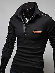 Men'S Retro Stitching Leather Long Sleeve Polo T-Shirt