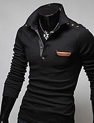 t-shirt à manches longues en cuir de couture rétro polo masculin