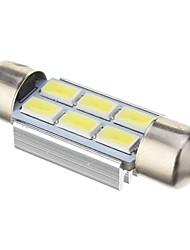 Festoon 2W 6x5730SMD 140LM 6000K Cool White Light Bulb LED para carro (DC 12V, 39 milímetros, 1pcs)