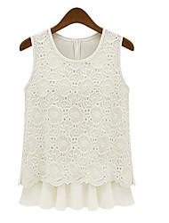 Shirt Vêtements volants en dentelle gilet sans manche T-shirt Top Blanc Blouses Georgette