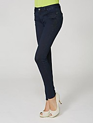 Women's Blue Cotton/Polyester/Lycra Pant , Casual