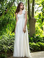 Lan Ting Sheath/Column Wedding Dress - Ivory Floor-length One Shoulder Velvet Chiffon
