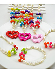 Girl's Colorful Pearl Jewelry Set (Necklace&Bracelet)(Random Color)