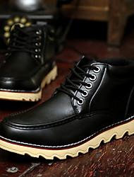 De cuero de moda de zapatos de alta Tendencia punto para hombres (Negro)