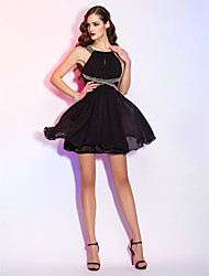 Homecoming Cocktail Party/Homecoming/Holiday Dress - Black Plus Sizes A-line Scoop Short/Mini Chiffon