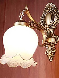 Bathroom Wall Light, 1 Luce, pittura classica, Metallo, Vetro