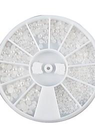 1PCS pneus Mini Mixte Taille Pearl White Nail Art Décoration