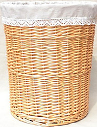 Classic Beige Rattan Storage Basket with Gray Lining
