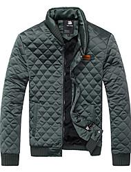 Aoriwei Men'sGreen Check Fitted Cotton Coat