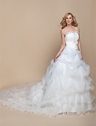 A-line Wedding Dress - Elegant & Luxurious / Glamorous & Dramatic Vintage Inspired Cathedral Train Strapless Organza withBow / Sequin /