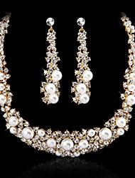 Liga Silver / Gold Rhinestone e Immitation Pérola nupcial Set jóias (colares, brincos) (mais cores)