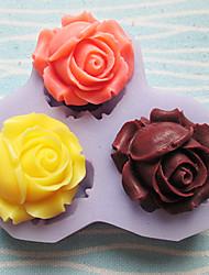 três furos rosas ferramentas artesanais flor silicone molde moldes fondant de açúcar flores de resina moldes molde para bolos
