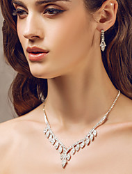 Beautiful Czech Rhinestones With Alloy Plated Wedding Bridal Jewelry Set,Including Necklace And Earrings