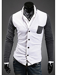 ZBN Men's Stand Collar Single Breasted Contrast Color Knitting Cardigan(White)