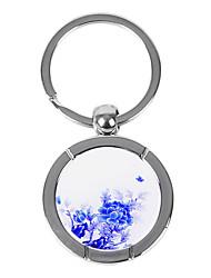 dom gravada personalizada criativo flor azul e branco padrão chaveiro