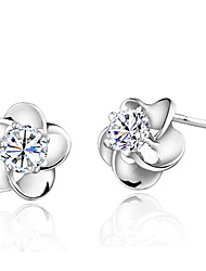 Timeek Women's Silver Flower Shape Earring