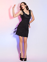 Cocktail Party / Homecoming / Holiday Dress - Black Plus Sizes / Petite Sheath/Column Straps Short/Mini Chiffon / Satin