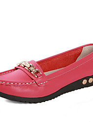 YAQI Casual Genuine Leather Flat Heel Shoes(Watermelon)