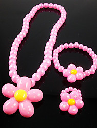 Jewelry 1 Necklace 1 Bracelet 1 Ring Party Resin 1set 3pcs Girls Pink Wedding Gifts