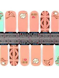 yemannvyou®2x14pcs modo 2-modello rosa e stickers per le unghie full-copertura nuvolosa