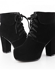 Maibu Fashion Leather Frosted Thick Heel Boots