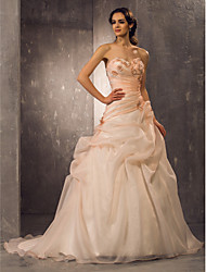 A-line Princess Sweetheart Court Train Organza Wedding Dress with Beading Appliques Side-Draped by LAN TING BRIDE®